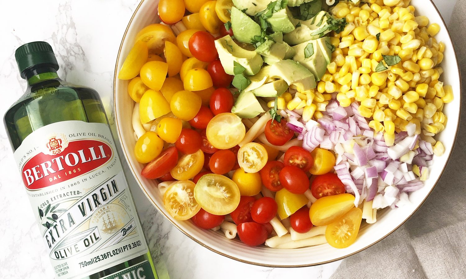 Bertolli Extra Virgin Olive Oil with Avocado Pasta Salad