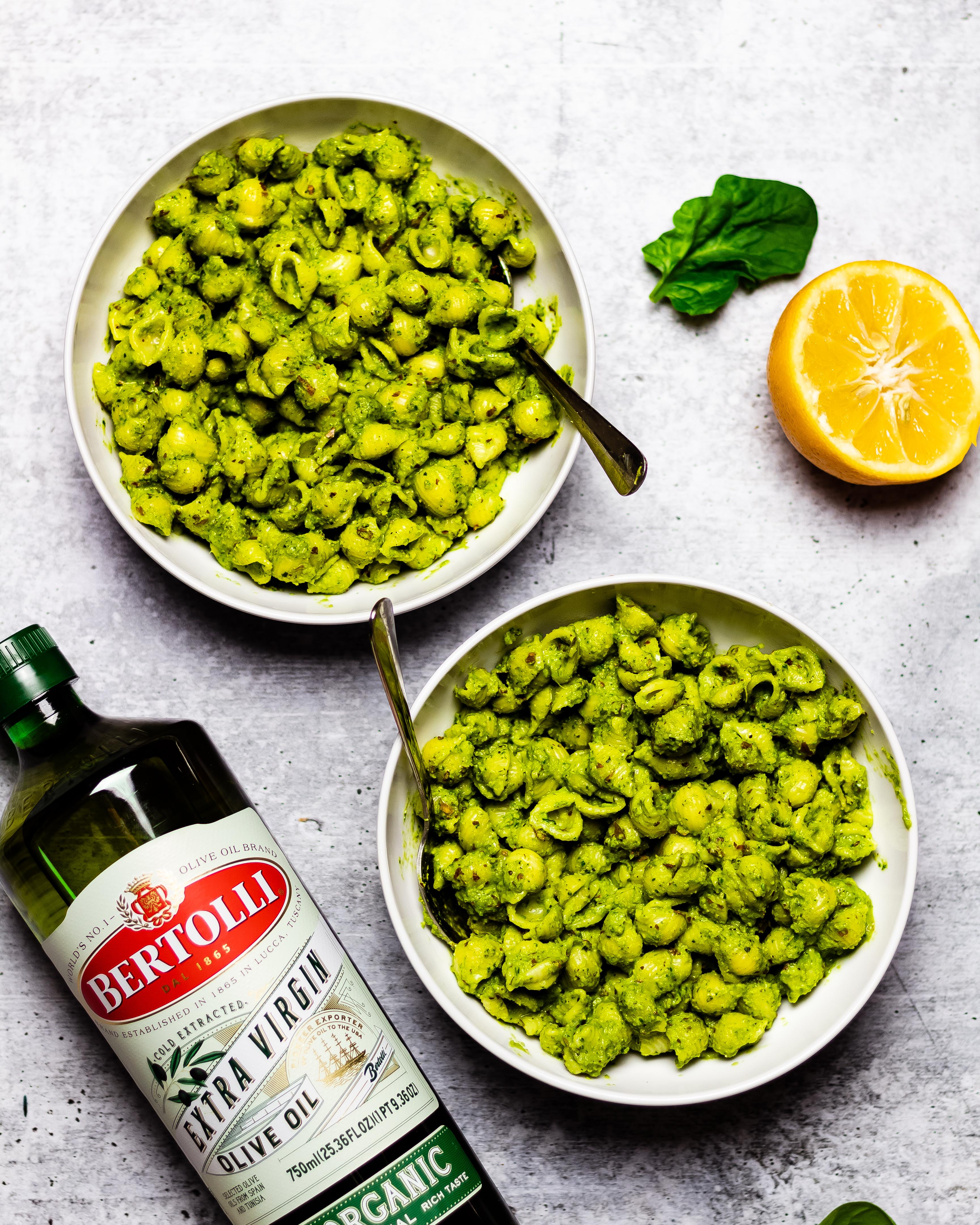 creamy pesto pasta with bertolli olive oil