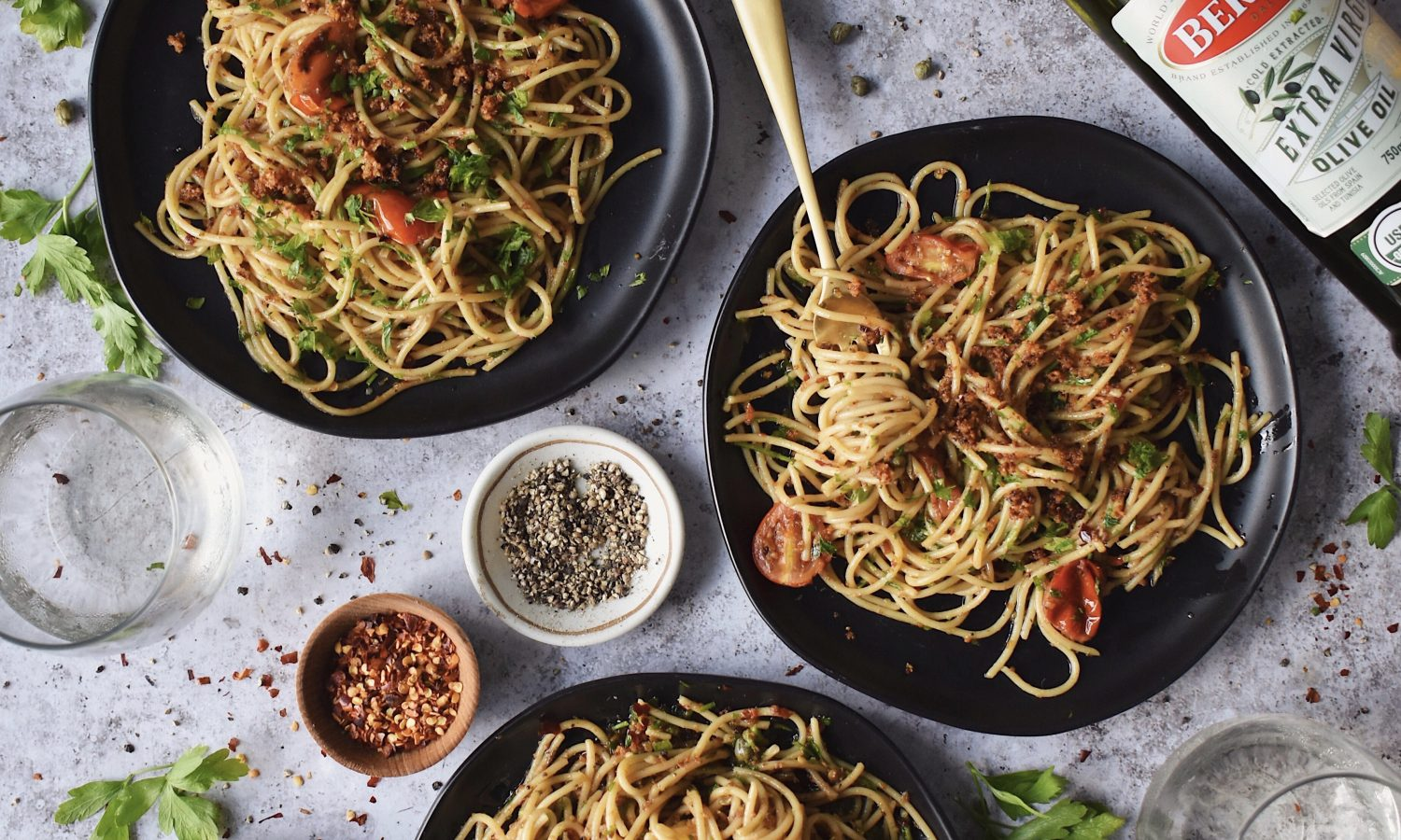 Garlic Anchovy Pasta with Bertolli Olive Oil