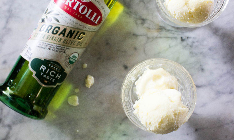 Lemon olive oil ice cream with Bertolli Olive Oil