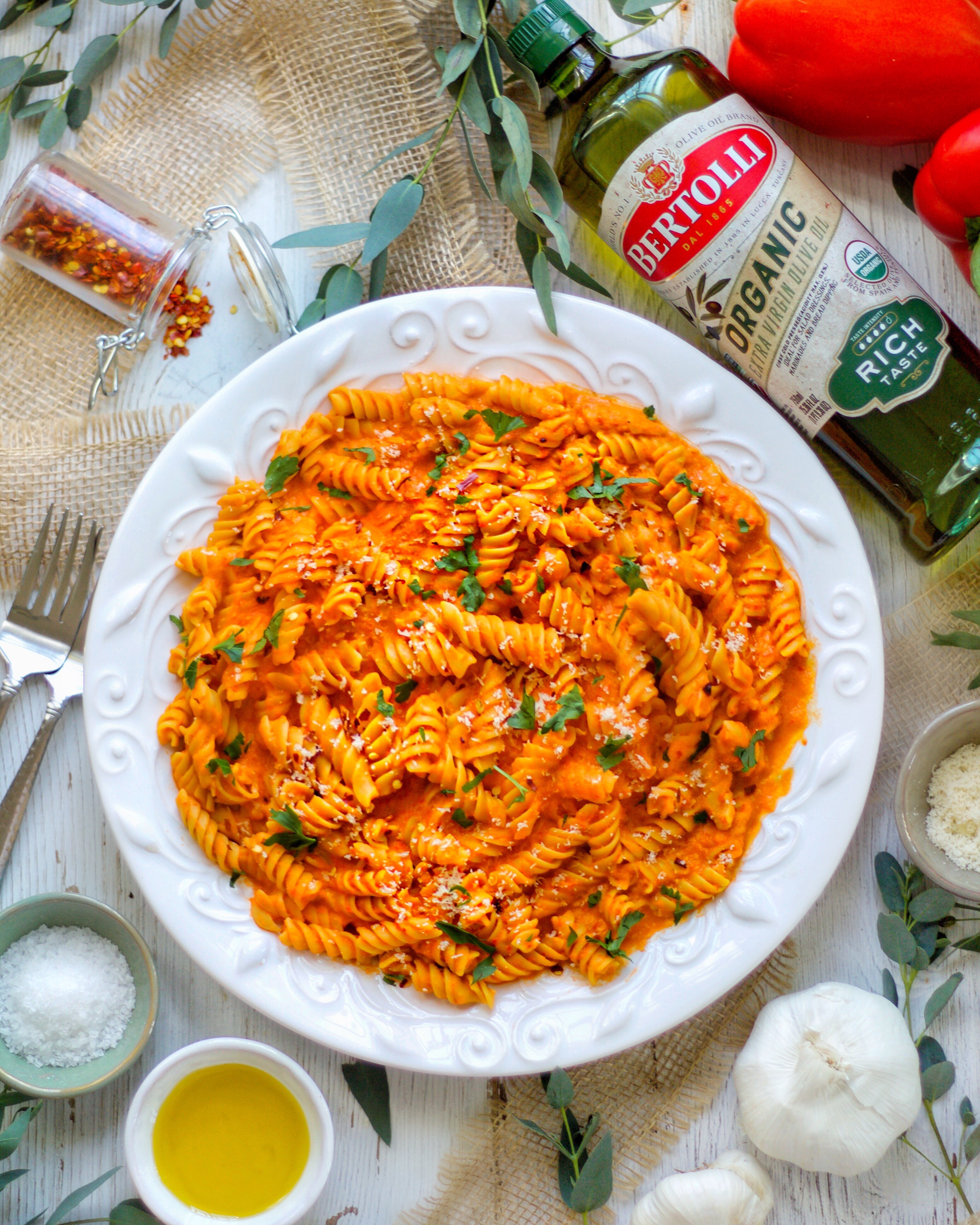 Roasted red pepper sauce and Pasta