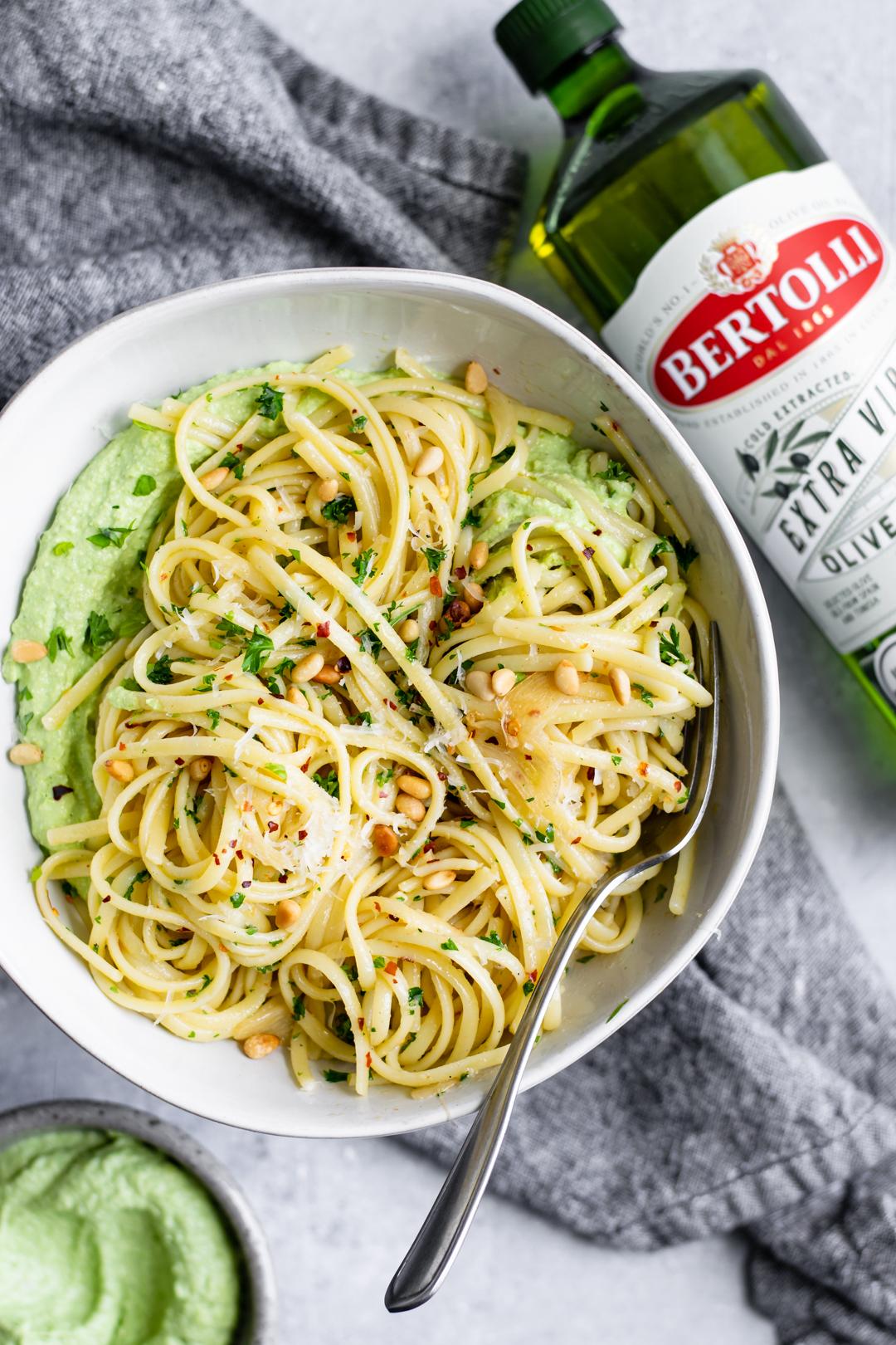 Vegan Whipped Pea Ricotta with Bertolli Olive Oil