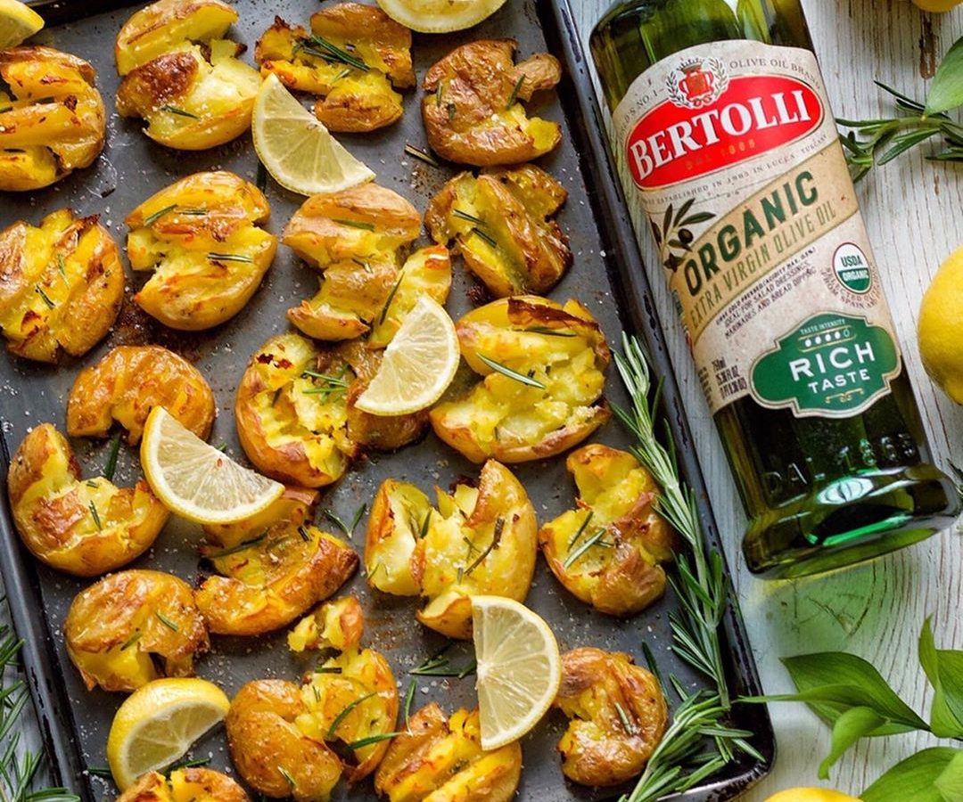 Lemon and Rosemary Smashed Potatoes with Bertolli Olive Oil
